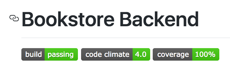 Badges on the bookstore-backend GitHub page