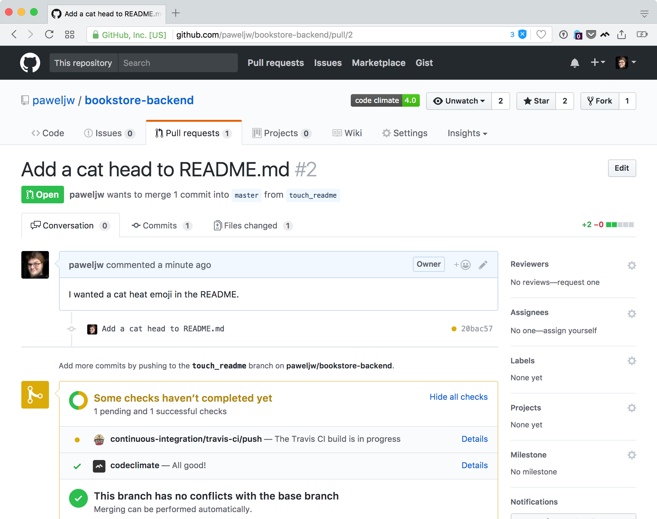Pull request view, note that Code Climate has finished and Travis CI is still running its check
