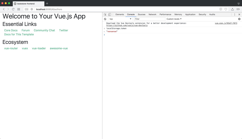 Vue js front end app, part 3: Authentication